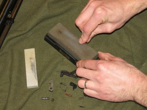 Use a sharpening stone to smooth out rough surfaces